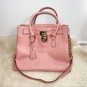 Pink Michael Kors Purse Tote with Lock and Key
